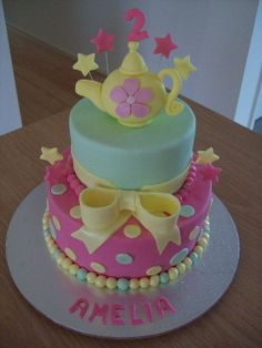 Tea-party birthday cake, via Flickr..