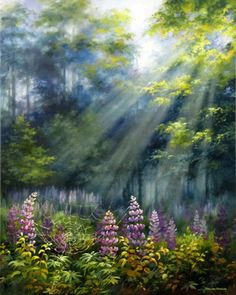 'Lupines in Sunrays' / Varvara Harmon