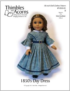 1850's Day Dress 18 inch Doll Clothes PDF Pattern Download | Pixie Faire