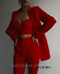 Tomboy Fashion, Teen Fashion Outfits, Suit Fashion, Red Fashion, Look Fashion, Girl Outfits, Prom Outfits, Mode Outfits, Classy Outfits