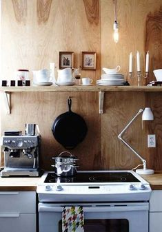 plywood wall design in kitchen