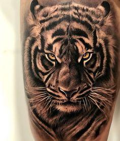 Pin by poriyatattoos on dizain and paint tiger tattoo, animal tattoos, tige Tiger Hand Tattoo, Realistic Tiger Tattoo, Tiger Tattoo Sleeve, Lion Tattoo Sleeves, Tiger Tattoo Design, 1 Tattoo, Sleeve Tattoos, Tattoo Designs, Tattoo Ideas