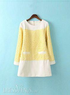 Stunning Split Joint Lace Jacquard High Quality Woolen Dress