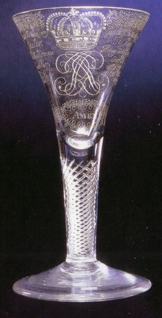 """Jacobite """"Amen"""" Drinking Glass. Hand-Blown & Engraved Glass. Circa 1750.   .....Find a pretty pair of Flutes for the Bride and Groom."""