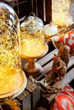 For a fabulous fall lighting accent, think small. Pier 1's battery-powered Glimmer Strings® use tiny LEDs strung along shapable, thread-sized silver filament to create a weightless, firefly-like effect. Weave them through wreaths and centerpieces, or string along banisters and trees, indoors and in covered outdoor areas. Compatible LED Candle Remote (sold separately) allows them to be turned on or off at a touch. Built-in timer provides automatic shutoff.