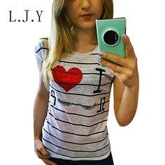 women's Casual Striped t shirt I Love Sleep Print harajuku Tops Plus Size cute Eyelash tees Crop Top ropa mujer