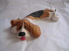 Polymer clay Basset by CLAYKEEPSAKES