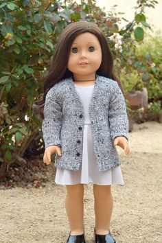 Gray Cardigan with Decorative Buttons, RoyalDollBoutique on Etsy  $13.50