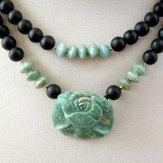 Lovely! Handmade Necklace Black Czech Glass Beads Carved Green Turquoise - GalleriaLinda