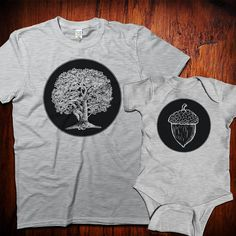 Father's Day Gift Oak tree and acorn tshirt set father