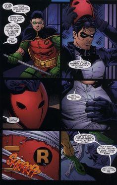 Red Hood (Jason Todd) and Robin (Tim Drake)