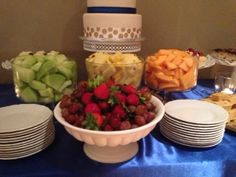 Wedding Cake and Fruit  Blairs Catering