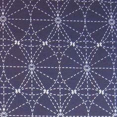 Pre-printed 44 inch wide Japanese sashiko fabric features a combination of interlocked circles, the Japanese Asa no Ha (hemp pattern) and a gridded background. Stitch it in one color, two colors-- or many colors. Wash it later and the white lines disappear! Available from Quilter's Express to Japan.
