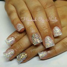 Flare nails, holographic, swarovski crystals
