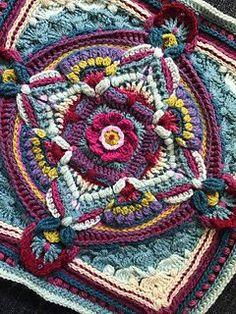 Crochet Square Pattern Ravelry: Equinox pattern by Jen Tyler - Motif Mandala Crochet, Crochet Motifs, Granny Square Crochet Pattern, Crochet Blocks, Crochet Squares, Crochet Blanket Patterns, Crochet Granny, Knitting Patterns, Knit Crochet