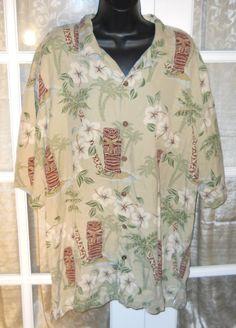 Hiio Hattie Tiki Palm Tree Hawaiian Shirt 100 Silk 2XL XXL | eBay