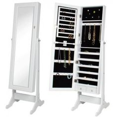 Fineboard LED Jewelry Cabinet Organizer with Mirror and 6 Drawers Brown
