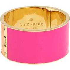 Bright pink hinged bangle from Kate Spade New York. #fashion #bracelet #accessories