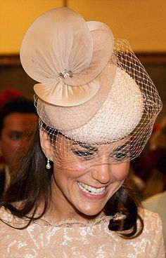 fc7f564933e Kate wearing a nude beaded cocktail hat by Jane Taylor as she The Diamond  Jubilee service