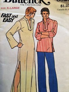 e60146277da Vintage 1970s Butterick Pattern 3625 Men s Caftan Dashiki Top X Large Chest  46-8