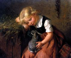 Girl with Pet Rabbit by Felix Schlesinger - art print from King & McGaw