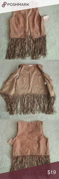 SALE TODAY ONLY Fringe Vest Reduced from $19. New with tags Brown faux suede fringe vest. Fits size Small/Medium but the tag says size L/XL. It was purchased in Barcelona as a gift. Would keep, but is too small. Definitely not a large. It is not lined. Will make a great look with skinny jeans. Jackets & Coats Vests