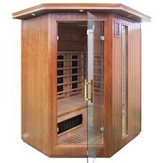 Wykonana z drewna jodły kanadyjskiej sauna domowa na podczerwień z koloroterapią.