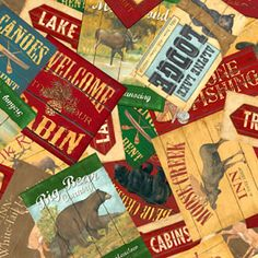fabric - Summer Lodge Signs by South Sea Imports Summer lodge, lake, and signs from the northwoods tossed about in bright colors of red, green, and tan.