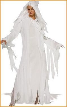 Halloween Ghostly Spirit Costume includes long white dress with attached gauze hood, gauze over dress covering the sleeves and partially the front. Halloween Party Kostüm, Ghost Halloween Costume, Ghost Costumes, Halloween Fancy Dress, Adult Costumes, Costumes For Women, Halloween Ideas, Halloween 2016, Carnival Costumes