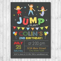 Jump invitation Bounce house invitation Jump by funkymushrooms