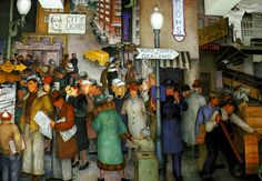 Coit Tower Mural - Street Scene  Three of the men who studied with Diego Rivera shared his politics as well as his style. They worked together on SF Coit Tower, the first major achievement of the initial PWAP art project in California. As a result of this project, artists Victor Arnautoff, Bernard Zakheim, and Clifford Wight, along with John Langley Howard, who had not studied with Rivera, managed at the outset of the New Deal to impart a lasting radical flavor to federally supported art.
