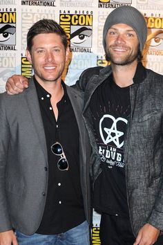 It's Completely Natural to Fawn Over These Cute Photos of Jensen Ackles and Jared Padalecki at Comic-Con 2016 by Popsugar #Jensen Ackles #Jared Padalecki #Misha Collins #Mark Sheppard #Supernatural #SDCC