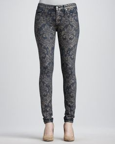 0590b625137b 7 For All Mankind Laser Gold Brocade Skinny Jeans