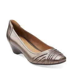 Ryla King in Pewter Metallic Leather - Womens Shoes from Clarks