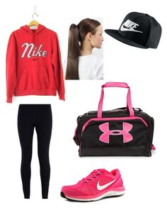 """""""Sporty look just don't care"""" by brianamircea ❤ liked on Polyvore featuring NIKE and Under Armour"""