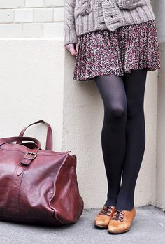 {inspiration} chunky sweater + floral skirt/dress + black tights + oxfords = winter uniform