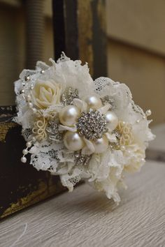 Brooch Wrist Corsage Ivory and White Made to by ForeverBouquet, $40.00