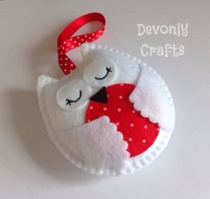 Hand Stitched Snowy Owl Felt Hanging Decoration/Ornament x1