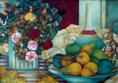 ❤ this style of drawing/painting...still life with pumpkins by elisabetta trevisan