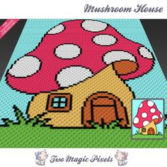 Mushroom House crochet blanket pattern; c2c, cross stitch; graph; pdf download; no written counts or row-by-row instructions by TwoMagicPixels, $3.99 USD