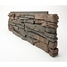 GenStone Stacked Stone Keystone 12 in. x 38 in. Faux Stone Siding Corner Panel Right (8-Pack), Charcoal Gray Base With Red And Tan Hues