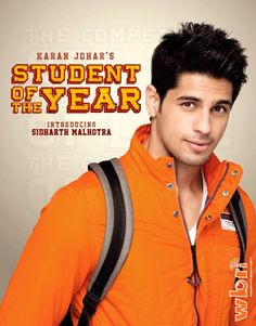 Bollywood Indian Hindi Movie Actor and Model Sidharth Malhotra in Student of the Year (2012) - Official Character Poster at http://www.washingtonbanglaradio.com/content/74454812-sidharth-malhotra-character-poster-student-year-2012