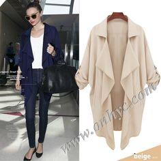 6b81eed64b7bc Brief Design Solid Color Polo Collar Long Sleeve Wind Coat. john pume · Women  Jackets   Coats
