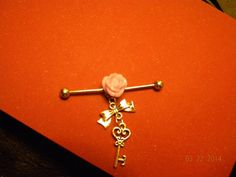 Key industrial Bar with small rose detail on Etsy, $10.00