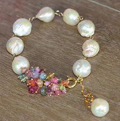 Freshwater Pearls and Gemstone Baroque Boho Bracelet - new season bijouterie Pearl Jewelry, Wire Jewelry, Jewelry Crafts, Beaded Jewelry, Jewelery, Handmade Jewelry, Silver Jewelry, Pearl Rings, Jewelry Case