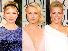 Michelle Williams (in Fred Leighton for Forevermark), Charlize Theron (in Cartier) and Busy Philipps accessorized from head to toe – literally – topping off their looks with the sparkling, strand-smoothing accessory. Cute Headband Hairstyles, Cute Headbands, Up Hairstyles, Pretty Hairstyles, Wedding Hairstyles, Michelle Williams, Perfect Red Lips, Hair Inspo, Hair Trends
