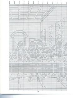 Christian Filet Crochet Patterns | HC3117 Filet Crochet Religious Charts - part of Last Supper photo ...