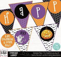 Halloween Banner, Halloween Party Decorations, Halloween Garland, Happy Halloween, Halloween Bunting, Halloween Supplies, Printable