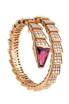 Bulgari Serpenti Bracelet in Pink Gold with Rubelite and Diamonds