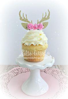 Antler Cupcake Toppers Cake topper Cake Smash prop First Glitter Cupcakes, Girl Cupcakes, Baby Shower Cupcakes, Birthday Cake Girls, Girl First Birthday, Birthday Parties, Birthday Nails, First Birthday Cupcakes, Wedding Cupcakes